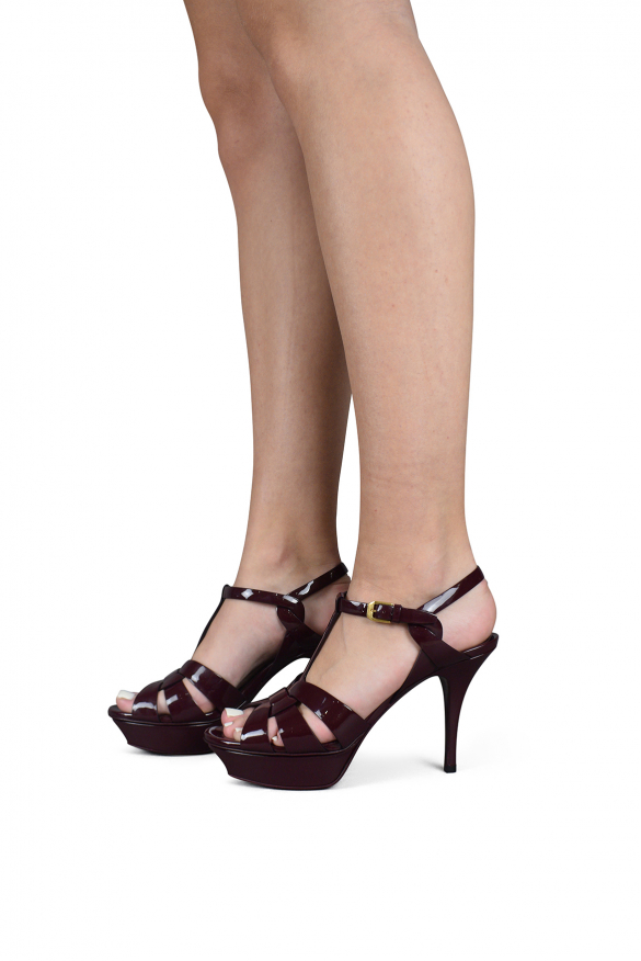 Luxury shoes for women - Saint Laurent Tribute in burgundy patent leather