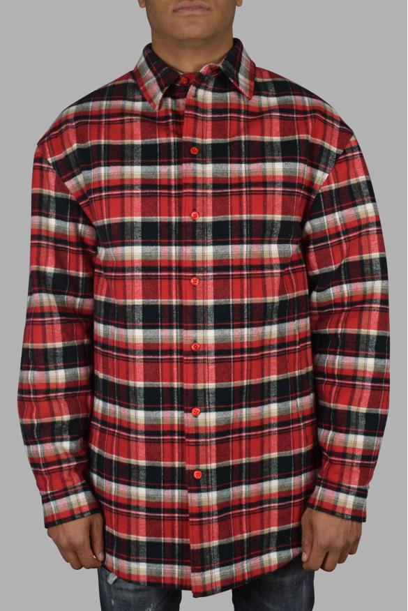 Men's luxury shirt - Red and black Balenciaga check shirt