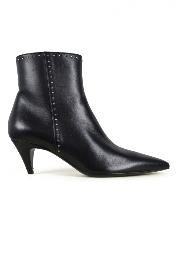 Luxury shoes for women - Saint Laurent boots in black leather silver studs details