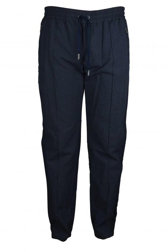 Luxury pants for men - Dolce & Gabbana blue pants tightened at the waist