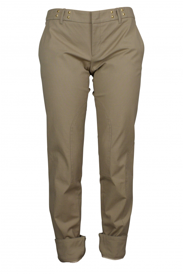 Luxury pants for women - Gucci light brown pants with gold details