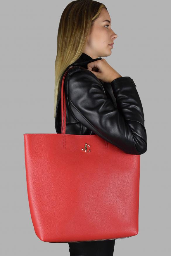 Luxury handbag - Jimmy Choo red grained leather handbag