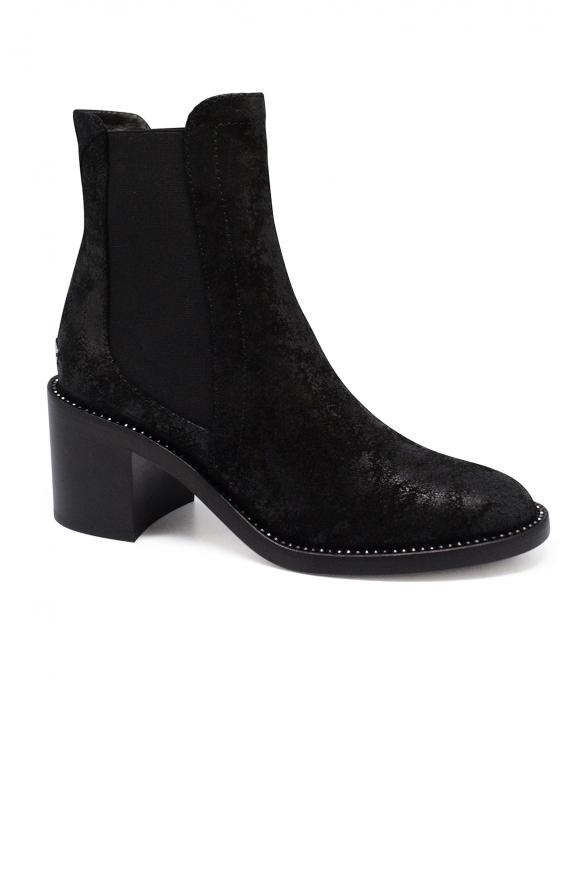 Luxury shoes for women - Jimmy Choo Merril boots in iridescent black suede