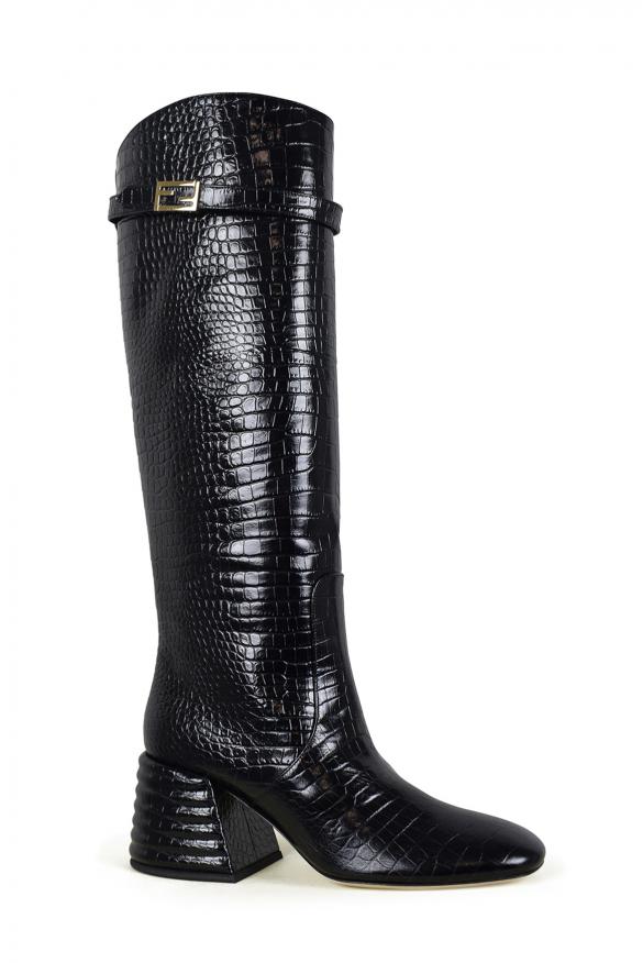 Women's luxury boots - Fendi boots in black crocodile embossed leather