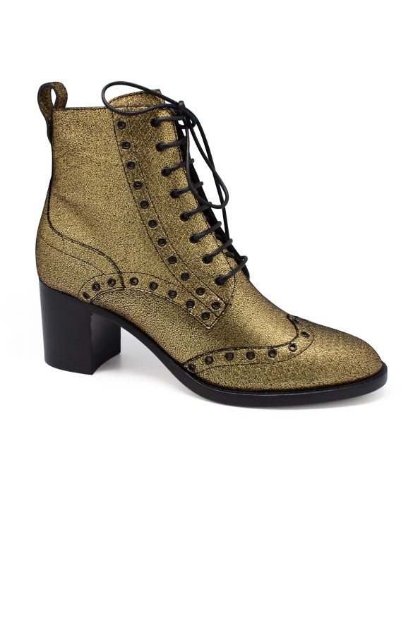 Luxury shoes for women - Jimmy Choo Hannah gold boots with gold studs