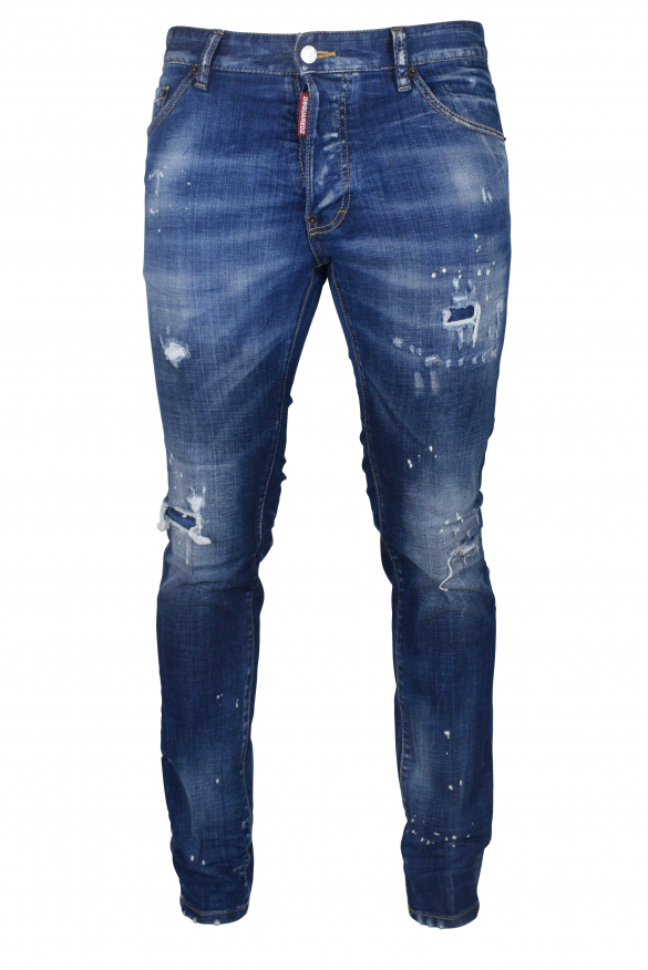 Men's luxury jean - Cool Guy Jean Dsquared2 blue with patch logo red/orange
