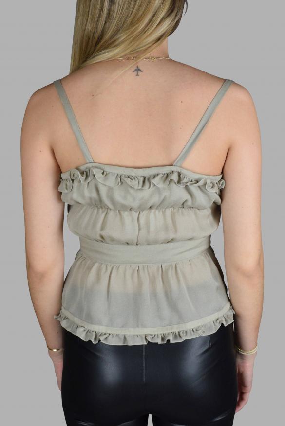 Women's luxury top - Valentino gray top with ruffles