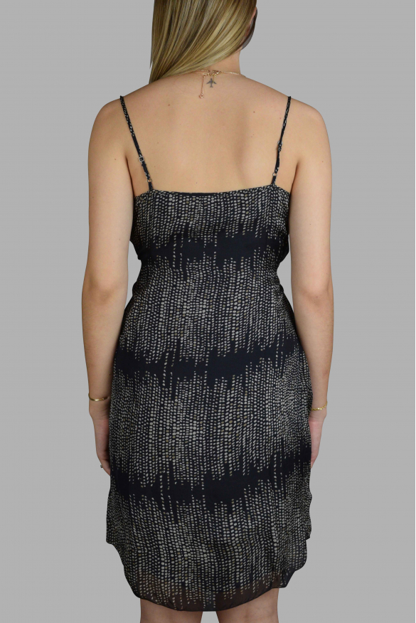 Luxury dress for women - L'Agence black dress with white details