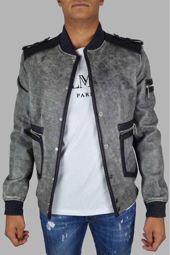 Men's luxury jacket - Philipp Plein jacket in aged gray leather