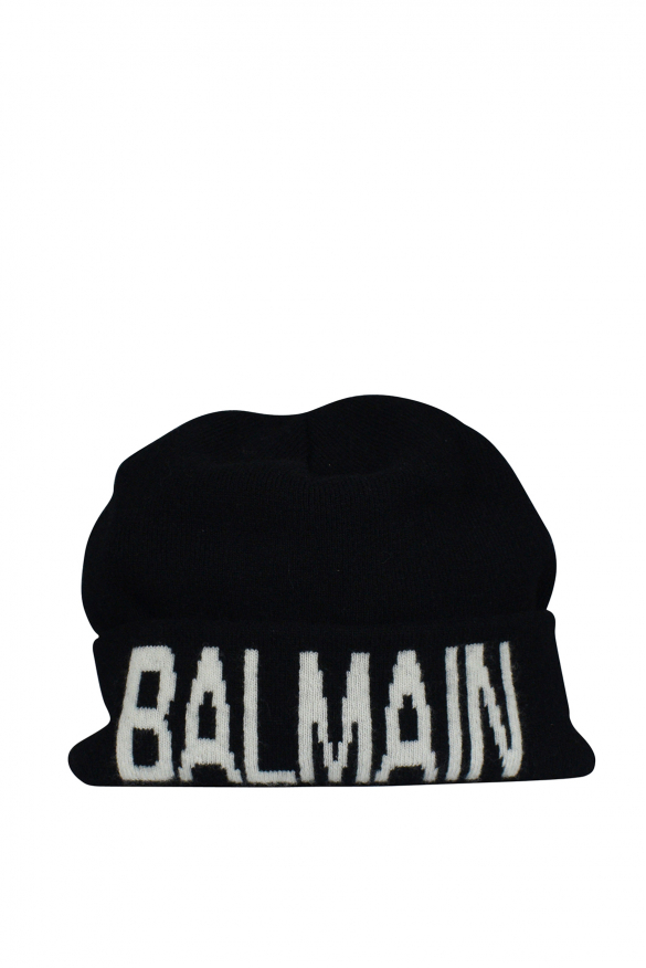 Men's luxury beanie - Balmain black beanie with white logo