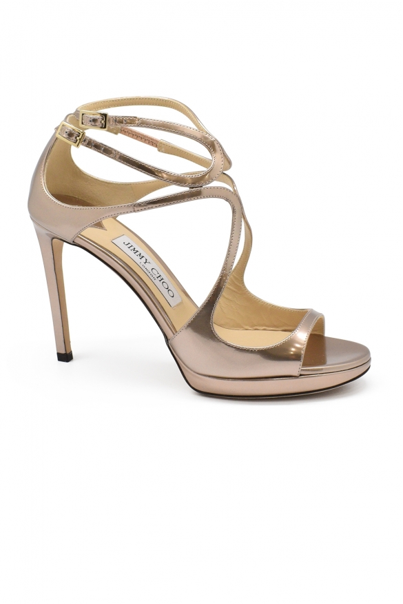 Luxury shoes for women - Jimmy Choo Lance sandals in rose/gold leather