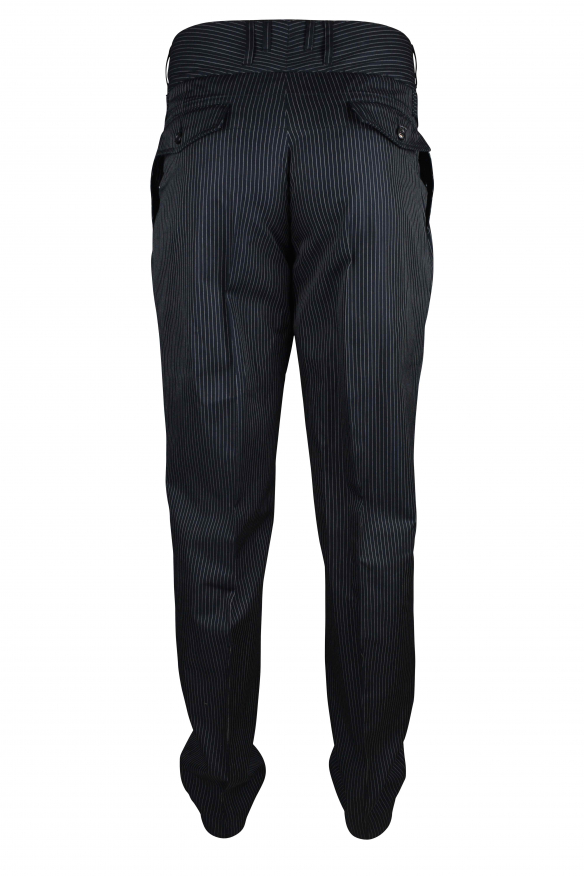 Luxury trousers for men - Dolce & Gabbana black trousers with white stripes