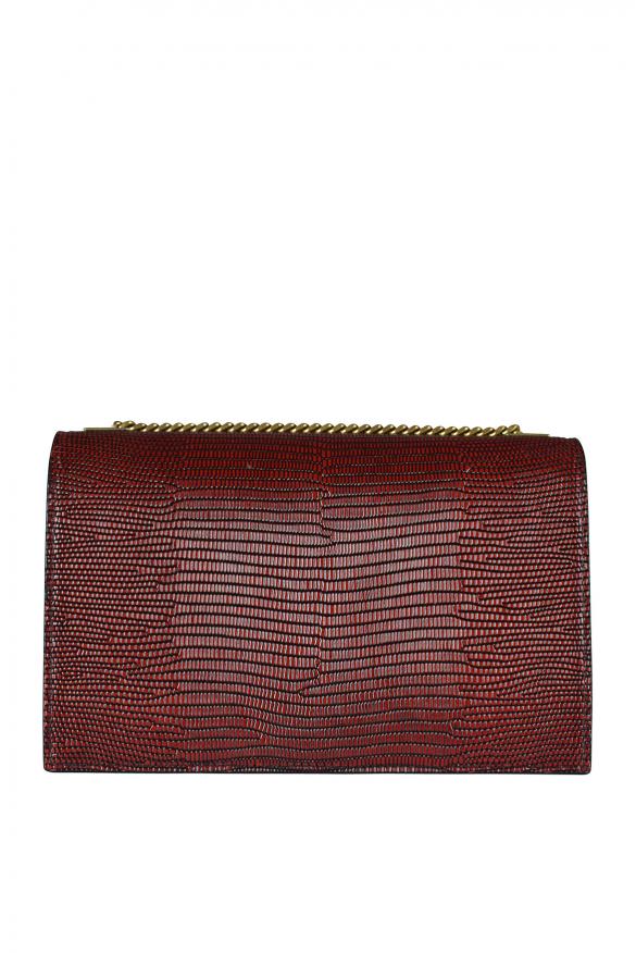 Luxury bag - Saint Laurent shoulder bag in burgundy leather with snakeskin effect