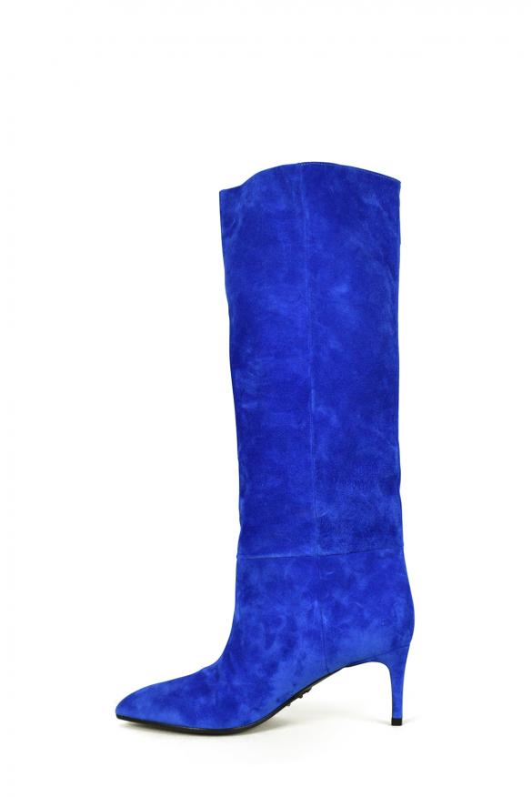 Women's luxury boots - Balmain Jane model ankle boots in blue suede