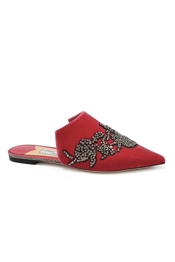 Luxury shoes for women - Jimmy Choo Rachel mules in pink velvet