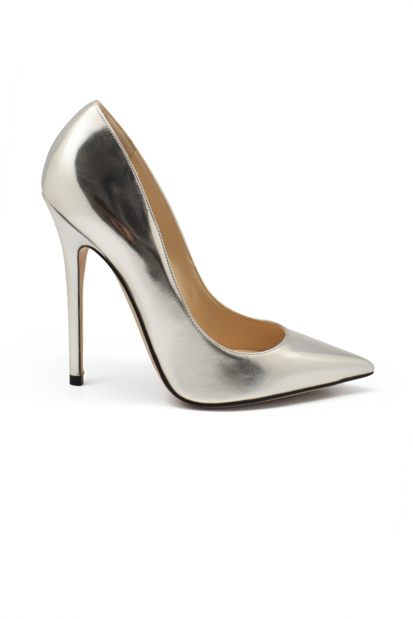 Luxury shoes for women - Jimmy Choo Anouk pumps in silver liquid leather