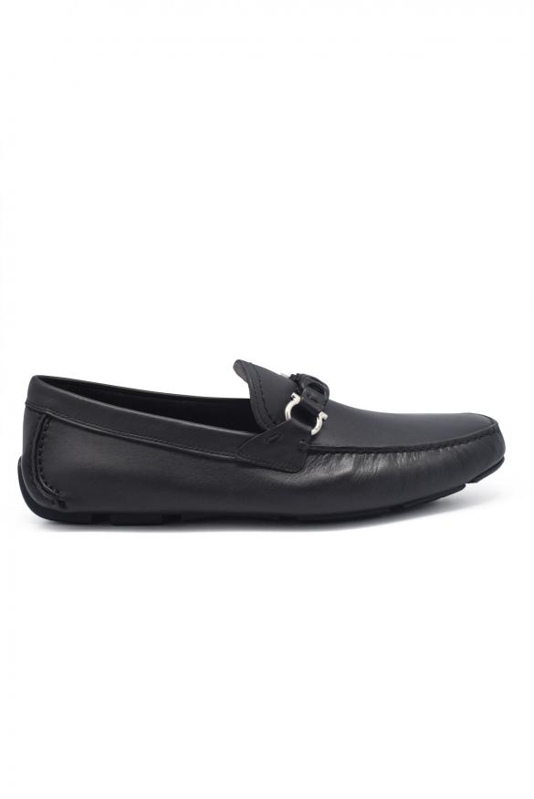 Men's luxury moccasins - Salvatore Ferragamo moccasins Driver Gancini model in black leather