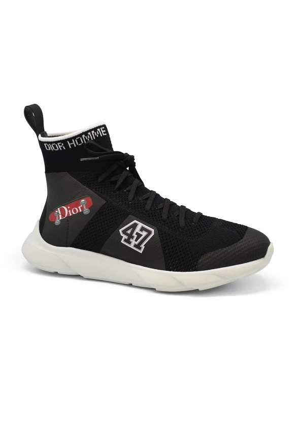 Luxury sneakers for men -  B21 Socks Dior sneakers in black technical knit with patches