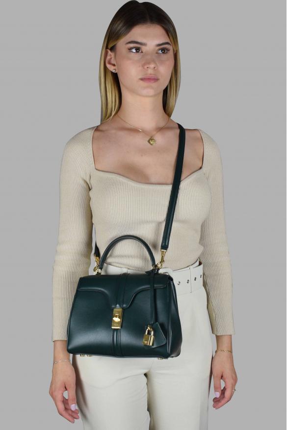 Luxury handbag - Celine small 16 bag in green leather