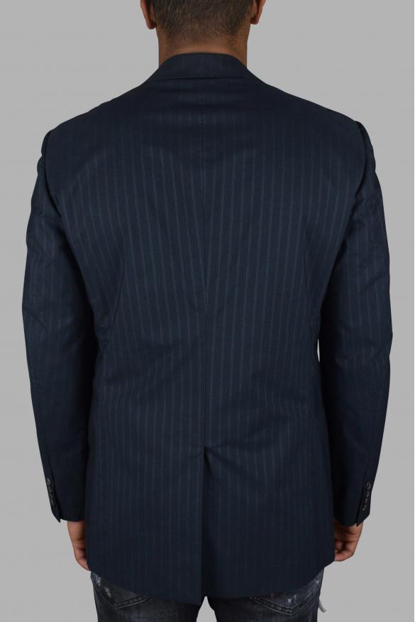 Men's luxury jacket - Prada jacket in navy blue cotton with stripes