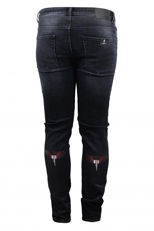 Men's designer jeans - Marcelo Burlon Slim grey jean with red wings