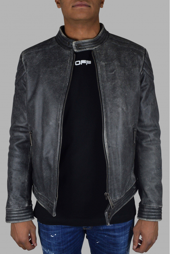 Men's luxury jacket - Philipp Plein biker jacket in gray leather