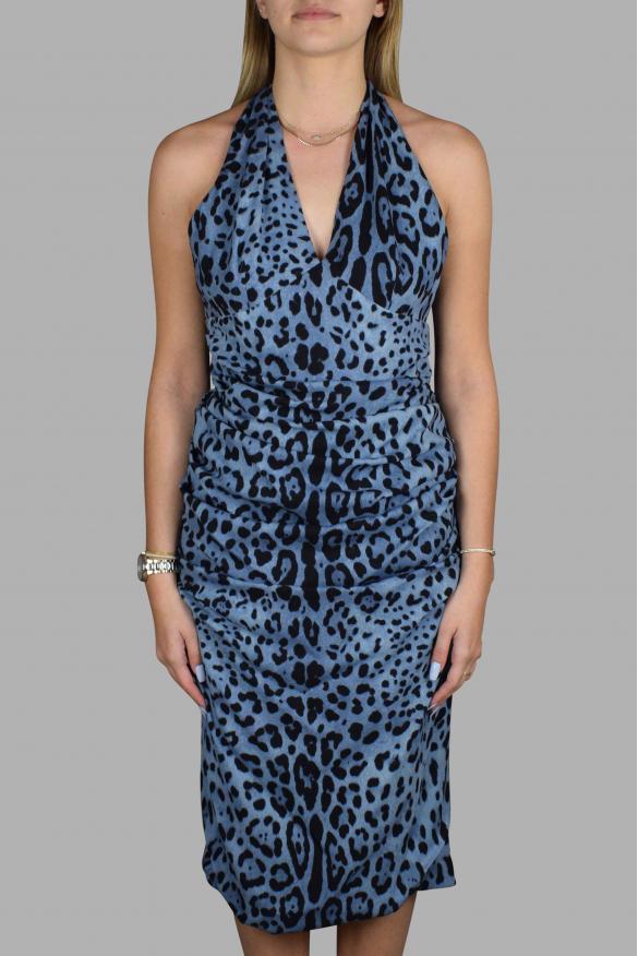 Luxury dress for women - Dolce & Gabbana open back blue dress with leopard pattern
