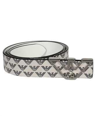 emporio armani monogram with contoured logo buckle belt