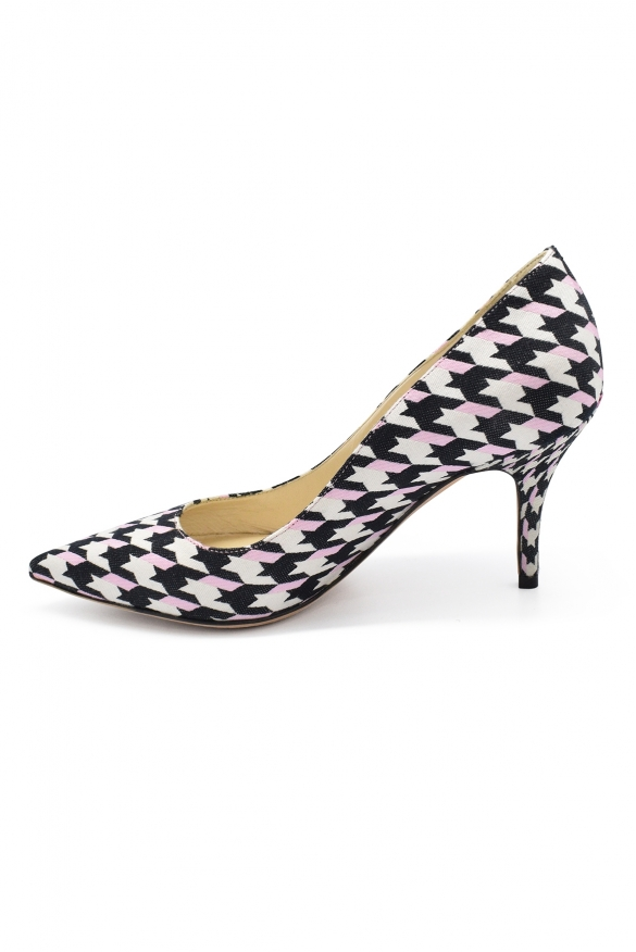 Luxury shoes for women - Dior pumps in black and white canvas.