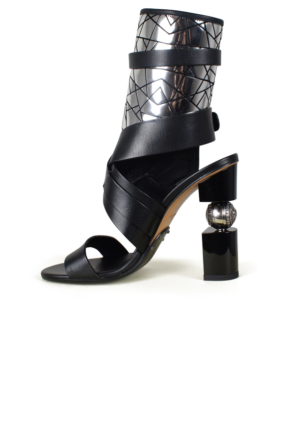 Women's luxury sandals - Balmain model Jacklyn sandals with black strap with silver mirror effect