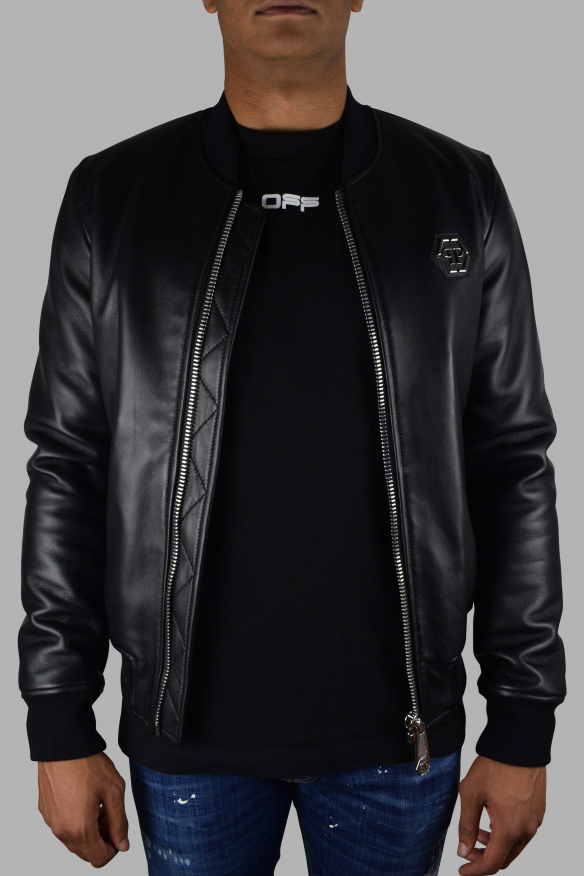 Men's luxury jacket - Philipp Plein Bomber jacket in black leather with skull and red logo