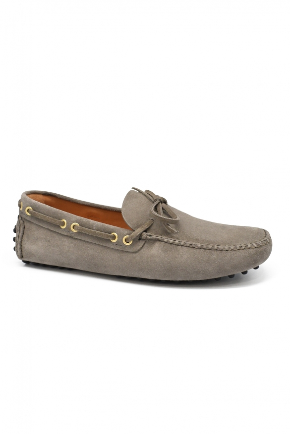 Luxury shoes for men - Car Shoe by Prada driving shoes in grey suede.
