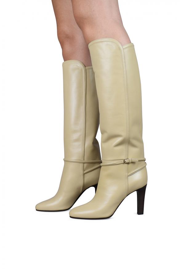 Women's luxury boots - Saint Laurent Jane 90 beige leather boots