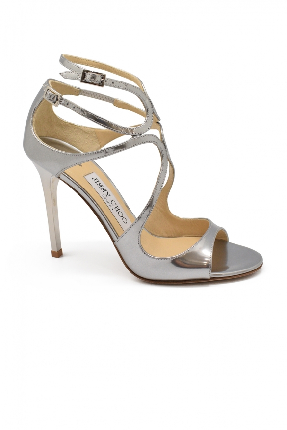 Luxury shoes for women - Jimmy Choo Lang sandals in dark silver leather