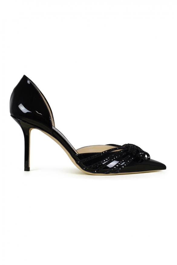 Luxury shoes for women - Jimmy Choo Kaitence 85 in black patent leather