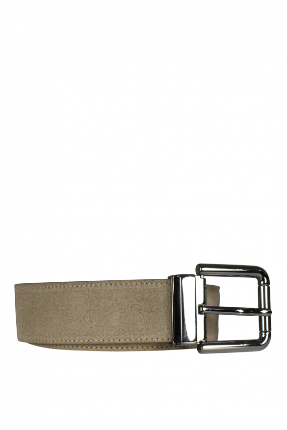 Men's luxury belt - Dolce & Gabbana belt in beige suede.