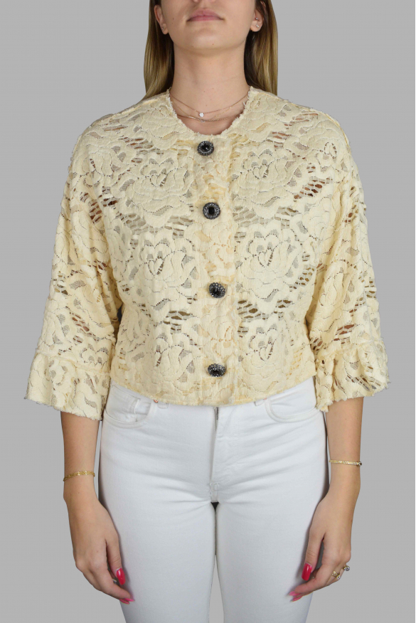 Luxury dress for women - Dolce & Gabbana cardigan in pastel yellow embroidery