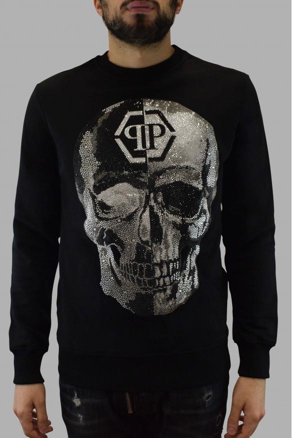 Men designer hoodies - Black sweatshirt LS Sound Philipp Plein skull