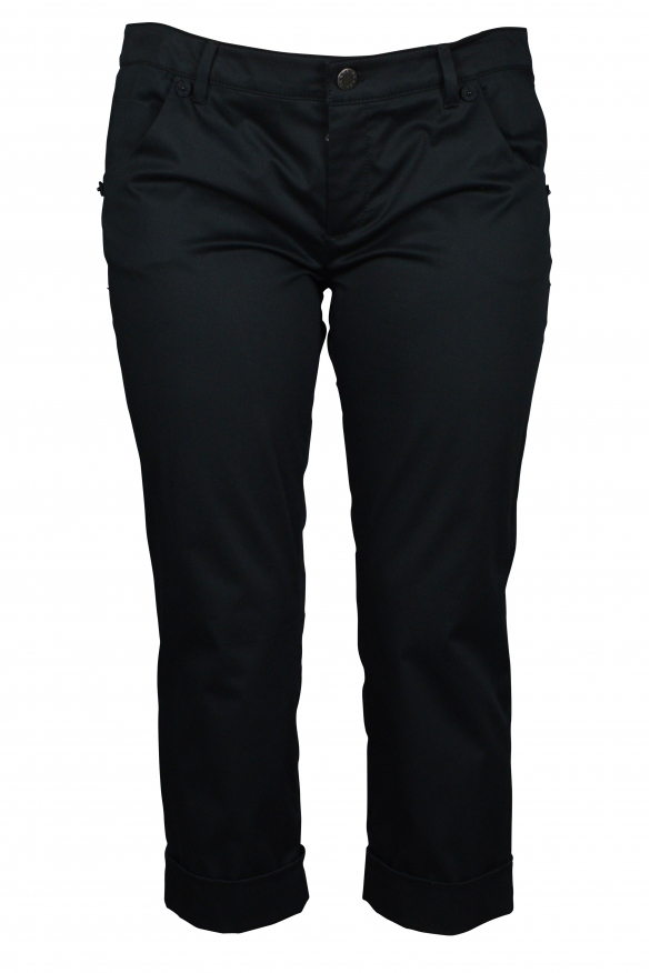 Luxury cropped trousers for women - Prada black cropped trousers with hems