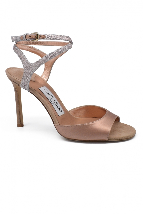 Luxury shoes for women - Jimmy Choo sandals in rose/gold satin and suede