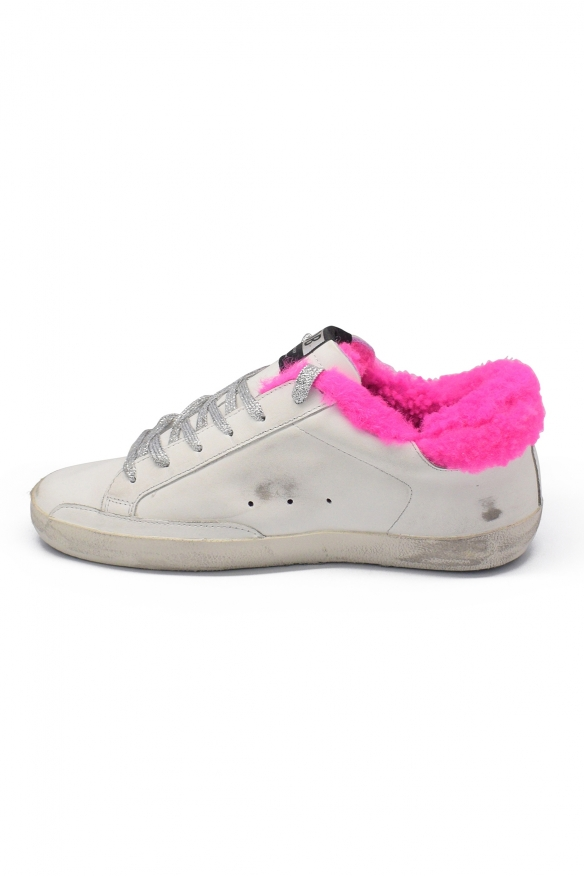 Women's luxury sneakers - Golden Goose Superstar sneakers in white leather pink details
