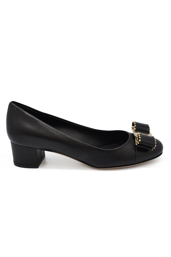 Women luxury shoes - Salvatore Ferragamo studded Varina black pumps