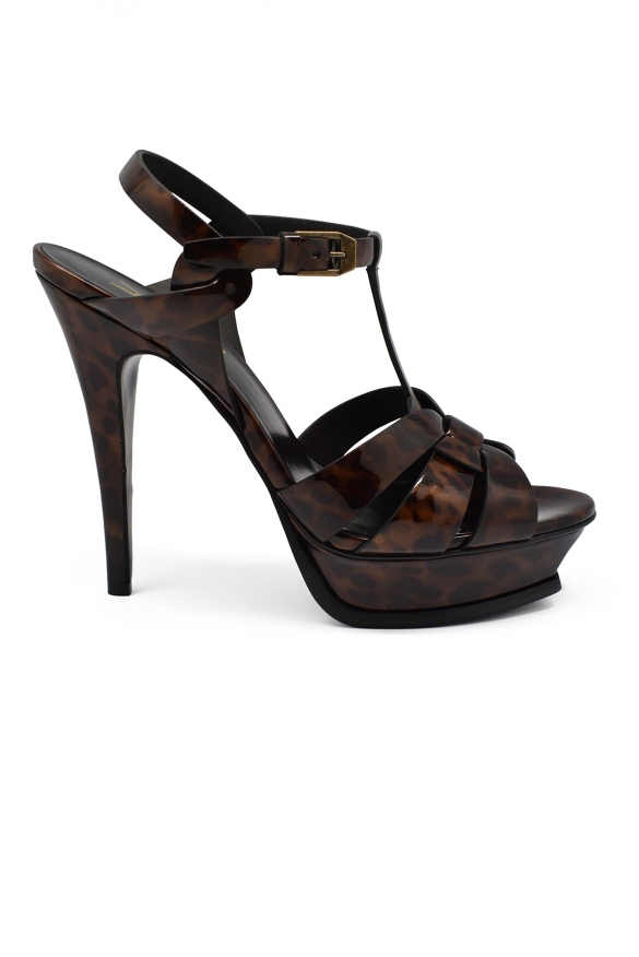 Luxury shoes for women - Saint Laurent Tribute brown scale effect sandals with high heel