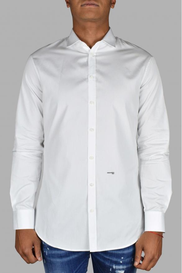 Luxury shirt for men - Dsquared2 white shirt with black logo