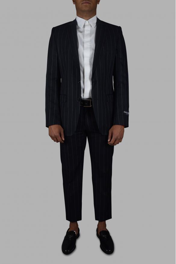 Men's luxury suit - Dolce & Gabbana navy blue striped two-piece suit.