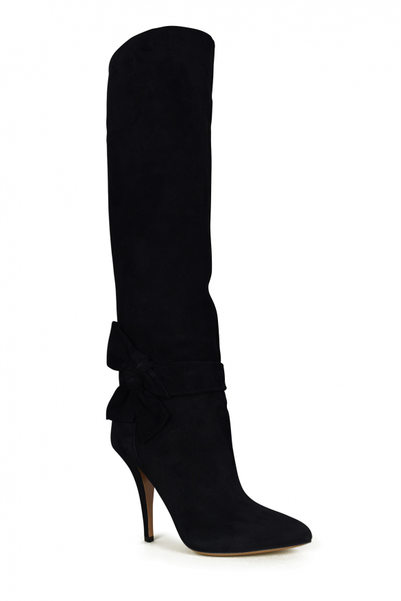 Women luxury shoes - Valentino high heel bow-tie boots in black suede