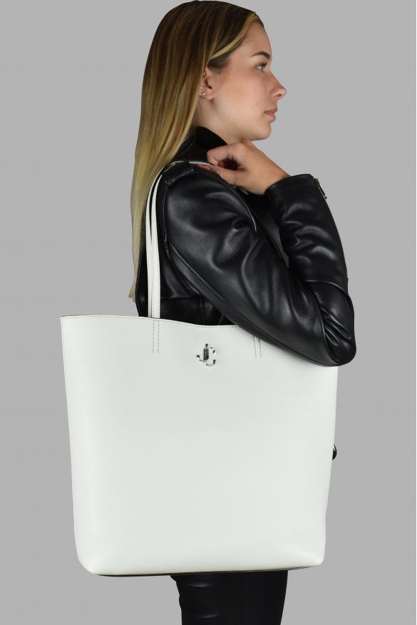Luxury handbag - Jimmy Choo white grained leather handbag