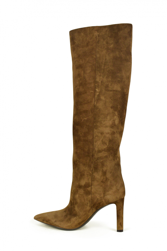 Luxury shoes for women - Saint Laurent Kate 85 boots in camel suede