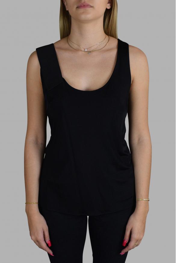 Women's luxury top - Asymmetric black Balenciaga top.