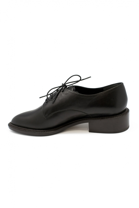 Women's luxury shoes - Oxford lace-up shoes in black leather